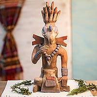 Ceramic sculpture, 'Maya Birdman from Palenque' - Maya Archaeology Replica Palenque Birdman Ceramic Sculpture