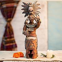 Ceramic sculpture, 'Aztec Huehuetl Drummer'