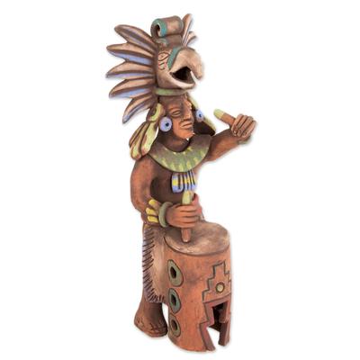 Ceramic sculpture, 'Aztec Huehuetl Drummer' - Ceramic Aztec Drummer Sculpture from Mexican Archaeology