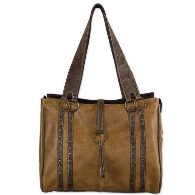 Artisan Crafted Dual Toned Leather Laptop Bag from Mexico