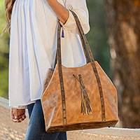 Leather shoulder bag, 'Southwestern Spirit' - Artisan Crafted Dual Toned Leather Bag from Mexico