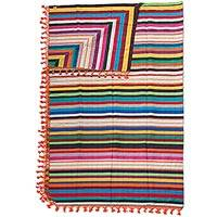 Cotton blanket, 'Zapotec Sunset' (king) - Artisan Crafted 100% Cotton Colorful Striped Blanket (King)