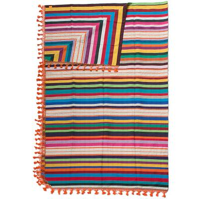 Unicef Market Artisan Crafted 100 Cotton Colorful Striped Blanket King Zapotec Sunset