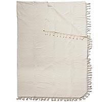Cotton blanket, 'Ivory Memories' (king) - Hand Woven 100% Cotton Blanket in Ivory from Mexico (King)