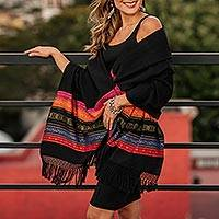 Zapotec cotton rebozo shawl, 'Zapotec Night Splendor' - Black Zapotec Rebozo Shawl with Colorful Geometric Stripes
