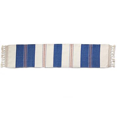 Cotton table runner, 'Striped Elegance' - Artisan Crafted 100% Cotton Striped Table Runner from Mexico