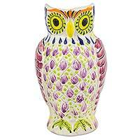 Majolica ceramic pitcher, 'Little Lilac Owl' - Artisan Crafted Mexican Majolica Owl Ceramic Pitcher