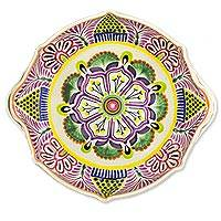 Majolica ceramic serving bowl, 'Purple Azalea' (15 inch) - Ornate Handcrafted 15 Inch Serving Bowl in Majolica Ceramic
