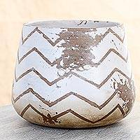 Ceramic decorative vase, 'Chevron Rustic' - Handmade Rustic Ceramic Vase with Chevron Motif from Mexico
