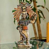 Ceramic sculpture, 'Aztec Sacrifice' - Aztec Skull Priest Ceramic Sculpture