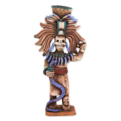 Aztec Skull Priest Ceramic Sculpture