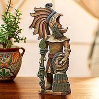 Ceramic sculpture, 'Aztec Caballero Aguila Warrior' - Aztec Eagle Warrior Ceramic Replica Sculpture from Mexico