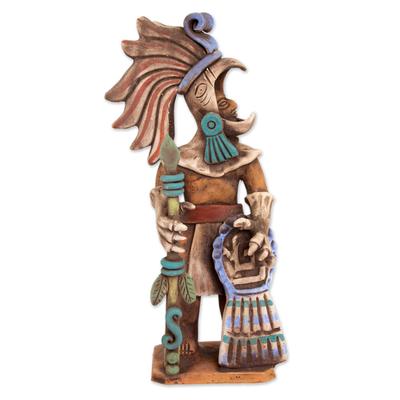 Ceramic sculpture, 'Aztec Caballero Aguila Warrior' - Aztec Eagle Warrior Ceramic Replica Sculpture from Mexico