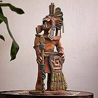 Ceramic sculpture, 'Fierce Aztec Jaguar Warrior' - Realistic Ceramic Sculpture of an Aztec Jaguar Warrior