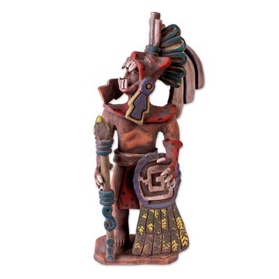 Ceramic sculpture, 'Fierce Aztec Jaguar Warrior' - Realistic Ceramic Sculpture of an Aztec Jaguar Warrior