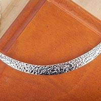 Sterling silver pendant necklace, 'Taxco Crescent Moon' - Artisan Crafted Contemporary Taxco Sterling Silver Necklace