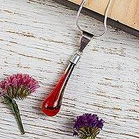Dichroic art glass pendant necklace, 'Sweet Scarlet Raindrop' - Handcrafted Scarlet Dichroic Art Glass & Silver 925 Necklace