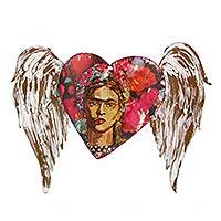 Iron wall sculpture, 'Frida's Red Winged Heart'