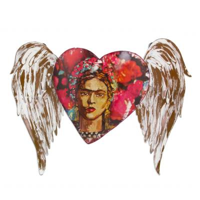 Iron wall sculpture, 'Frida's Red Winged Heart' - Iron Heart Theme Frida Kahlo Wall Sculpture from Mexico