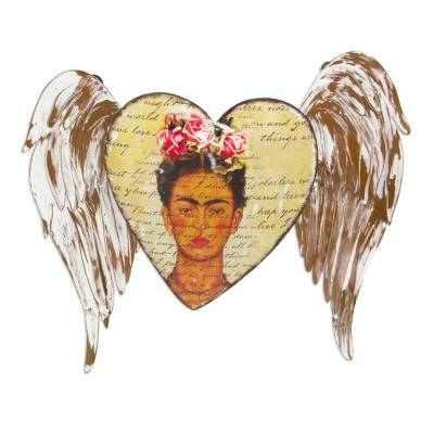 Iron wall sculpture, 'Frida with Pink Roses' - Mexican Iron Winged Heart Wall Sculpture with Frida Kahlo