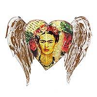 Iron wall sculpture, 'Frida's Heart Takes Wing'