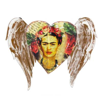 Iron wall sculpture, 'Frida's Heart Takes Wing' - Artisan Crafted Heart Theme Frida Kahlo Wall Sculpture