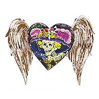 Iron wall sculpture, 'Winged Heart with Catrina'