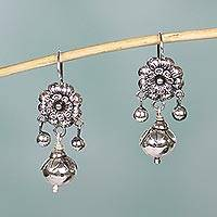 Sterling silver flower earrings, 'Floral Enchantment' - Silver Mazahua Style Artisan Crafted Floral Dangle Earrings