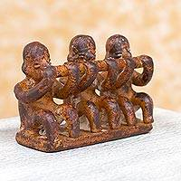 Ceramic sculpture, 'Olmec Flute Trio' - Original Olmec Style Musician Ceramic Sculpture from Mexico