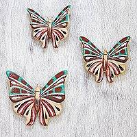 Ceramic wall sculptures, 'Tropical Butterflies' (set of 3) - Artisan Crafted Ceramic Butterfly Wall Sculptures (Set of 3)