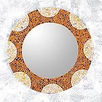 Glass mosaic wall mirror, 'Earth and Sun' (23 inch) - Handcrafted Mexican Glass Mosaic Wall Mirror (23 Inch)