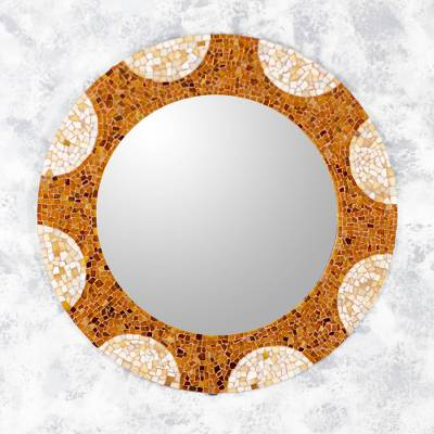 Glass mosaic wall mirror, 'Earth and Sun' (27 inch) - Handcrafted Stained Glass Round Wall Mirror (27 Inch)
