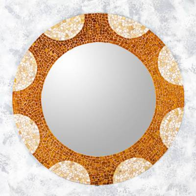 Glass mosaic wall mirror, 'Earth and Sun' (31 inch) - Handcrafted Glass Mosaic Circular Wall Mirror (31 Inch)