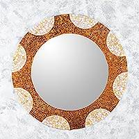 Glass mosaic wall mirror, 'Earth and Sun' (35 inch) - Handcrafted Mexican Stained Glass Wall Mirror (35 Inch)