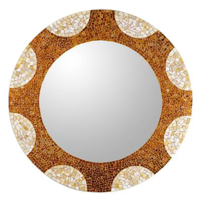 Gl Mosaic Wall Mirror Earth And Sun 35 Inch Handcrafted