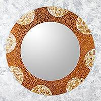 Glass mosaic wall mirror, 'Earth and Sun' (39 inch) - Handcrafted Mexican Glass Mosaic Wall Mirror (39 Inch)