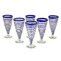 Beer glasses, 'Coils' (set of 6) - Hand Blown Glass Blue Beer Glasses Pilsner Set of 6 Mexico