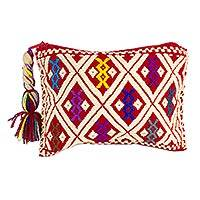 Cotton coin purse, 'San Andres Crimson' (5 inch) - 100% Cotton 5-inch Hand Woven Coin Purse from Chiapas
