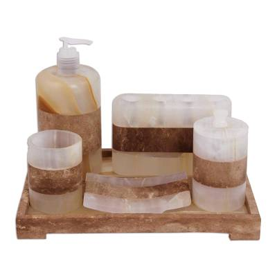 Onyx bath set, 'Nature's Bath' (6 piece set) - Earth Tone 6 Piece Onyx Stone Bath Set from Mexico