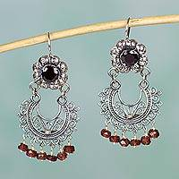 Garnet chandelier earrings, 'Mazahua Lady' - Sterling Silver Mazahua Style Garnet Chandelier Earrings