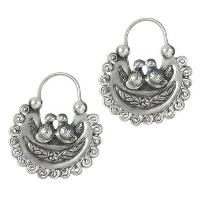 Artisan Crafted Silver Mazahua Style Sterling Hoop Earrings
