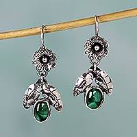 Malachite dangle earrings, 'Mazahua Wildflower' - Mazahua Sterling Silver Earrings with Malachite