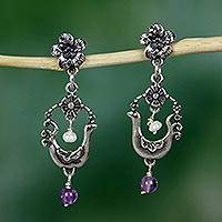 Amethyst and cultured pearl dangle earrings, 'Spring Birds' - Artisan Crafted Sterling Silver Earrings with Bird Motif