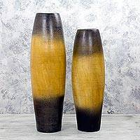 Ceramic decorative vases, 'Harvest of Sunlight' (pair) - Set of 2 Mexican Ceramic Decorative Vases 25 and 30 Inches