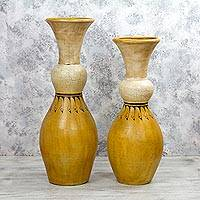 Ceramic decorative vases, 'Sunshine Squeeze' (pair) - Mexico Crafted 30 and 24 Inch Tall Ceramic Decorative Vases