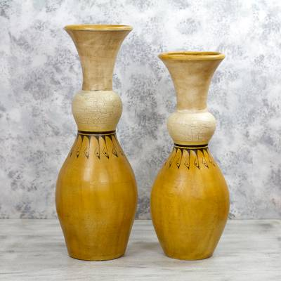Mexico Crafted 30 And 24 Inch Tall Ceramic Decorative Vases, U0027Sunshine  Squeezeu0027