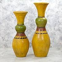 Ceramic decorative vases, 'Citrus Squeeze' (pair) - 30 and 24 Inch Tall Yellow Ceramic Decorative Vases