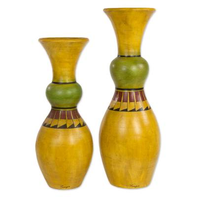 30 And 24 Inch Tall Yellow Ceramic Decorative Vases Citrus Squeeze