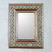Tin and ceramic wall mirror, 'Emerald Seville' - Tin Wall Mirror with Green Mexican Floral Ceramic Tiles
