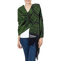 Cotton rebozo shawl, 'Grand Entrance in Green' - Artisan Crafted 100% Cotton Shawl in Green and Black